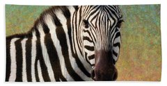 Beach Towel featuring the painting Portrait Of A Zebra - Square by James W Johnson