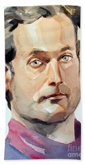 Watercolor Portrait Of A Man With Pale Blue Eyes Beach Towel