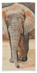 Beach Towel featuring the painting Portrait Of An Elephant by Jeanne Fischer