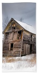 Beach Towel featuring the photograph Portrait Of An Old Shack - Agriculural Buildings And Barns by Gary Heller