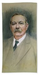Portrait Of Sir Arthur Conan Doyle  Beach Towel