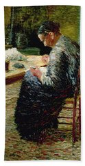 Portrait Of The Artists Mother Sewing, 1885 Beach Towel