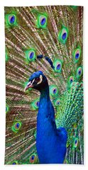 Portrait Peacock Beach Towel