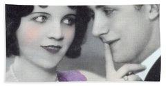 Postcard Depicting Two Lovers Beach Towel