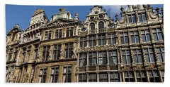 Beach Towel featuring the photograph Postcard From Brussels - Grand Place Elegant Facades by Georgia Mizuleva