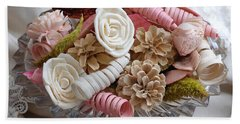 Potpourri In Pink And Cream Beach Sheet by Connie Fox
