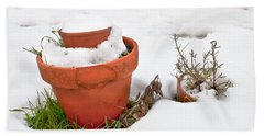 Pots In The Snow Beach Towel