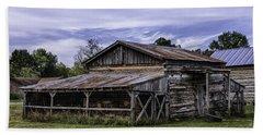 Beach Towel featuring the photograph Pottsville Arkansas Historic Log Barn by Betty Denise