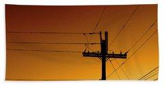 Power Line Sunset Beach Sheet by Don Spenner