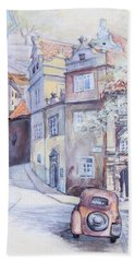 Prague Golden Well Lane Beach Towel