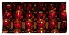 Prayer Candles Beach Sheet by Suzanne Stout