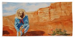 Beach Towel featuring the painting Prayer For Earth Mother by Ellen Levinson