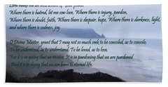 Prayer Of St Francis Of Assisi Beach Towel by Sharon Elliott