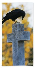Praying Crow On Cross Beach Towel by Luana K Perez