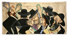 Praying Rabbis Beach Towel