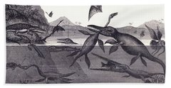 Prehistoric Animals Of The Lias Group Beach Towel by English School