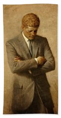 President John F. Kennedy Official Portrait By Aaron Shikler Beach Sheet by Movie Poster Prints