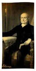 President John Quincy Adams Portrait And Signature Beach Towel