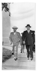 President Truman On A Walk Beach Sheet by Underwood Archives
