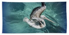 Beach Towel featuring the photograph Pretty Pelican by Pennie  McCracken