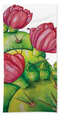 Prickly Pear Bloom Beach Towel