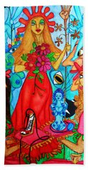 Beach Towel featuring the painting Princess Countrywoman. by Don Pedro De Gracia