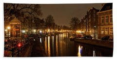 Beach Towel featuring the photograph Prinsengracht Canal After Dark by Jonah  Anderson
