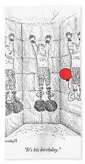Prisoner In Dungeon Has Orange Balloons Attached Beach Towel