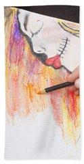 Professional Artist Illustrating Sugar Skull Girl Beach Towel