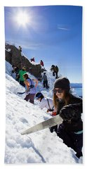 Professional Skier Using A Snow Saw Beach Towel