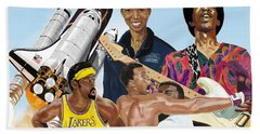 Beach Towel featuring the digital art Jimi, Muhammad Ali, Wilt Chamberlain And Mae Carol Jemison by Thomas J Herring