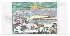 Beach Towel featuring the drawing Pronghorn Winter Sunrise by Dawn Senior-Trask