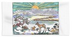Pronghorn Winter Sunrise Beach Sheet