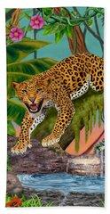 Prowling Leopard Beach Towel by Glenn Holbrook