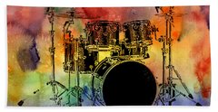 Psychedelic Drum Set Beach Sheet