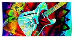 Psychedelic Guitar Beach Towel by Ally  White