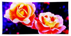 Psychedelic Roses Beach Towel by Martin Howard