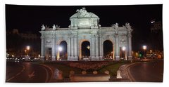 Puerta De Alcala At Night Beach Sheet