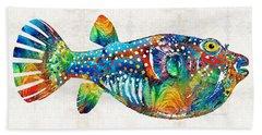 Puffer Fish Art - Blow Puff - By Sharon Cummings Beach Towel