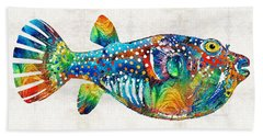 Puffer Fish Art - Blow Puff - By Sharon Cummings Beach Towel