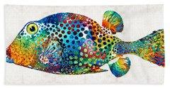 Puffer Fish Art - Puff Love - By Sharon Cummings Beach Towel