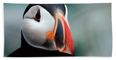 Puffin Head Shot Beach Sheet by Jerry Fornarotto