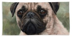 Pug Portrait Painting Beach Towel