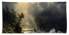 Puget Sound On The Pacific Coast Beach Towel by Albert Bierstadt