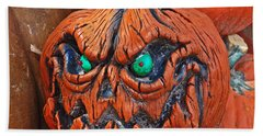 Pumpkin Face Beach Towel