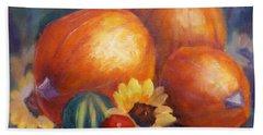 Pumpkins And Flowers Beach Sheet