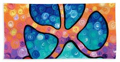 Puppy Love - Colorful Dog Paw Art By Sharon Cummings Beach Towel