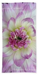 Beach Towel featuring the photograph Purple And Cream Dahlia by Jeannie Rhode