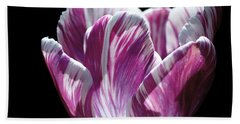 Purple And White Marbled Tulip Beach Towel