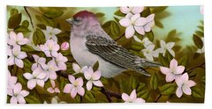 Purple Finch Beach Towel by Rick Bainbridge